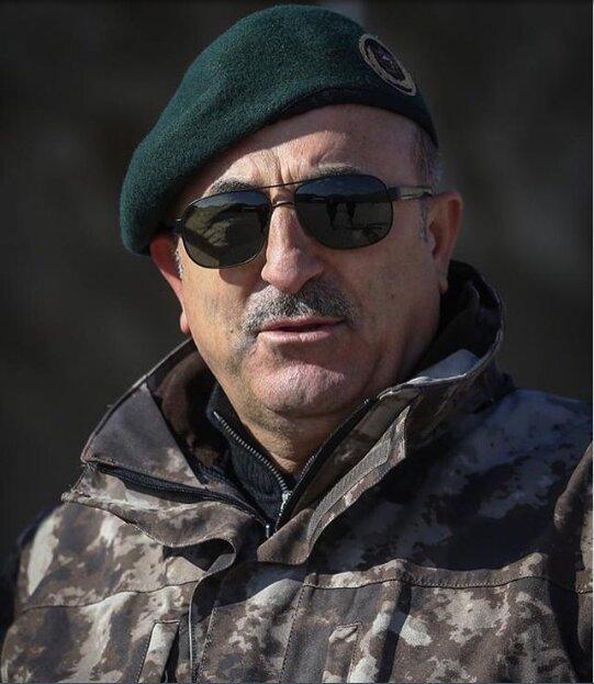 عملیات ترکیه در سوریه؛ چاووش اوغلو یونیفرم نظامی پوشید